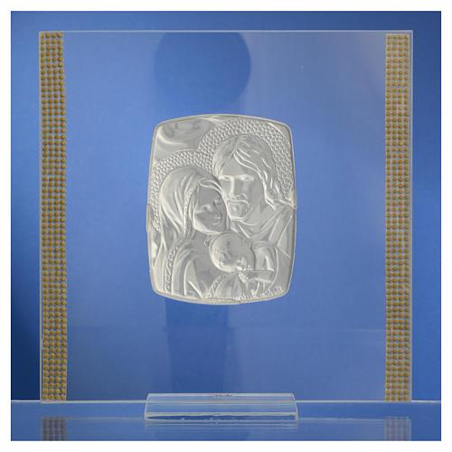 Cadre Mariage Ste Famille Argent et strass 17,5x17,5 cm 8