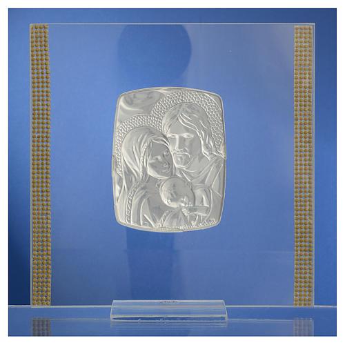 Cadre Mariage Ste Famille Argent et strass 17,5x17,5 cm 4
