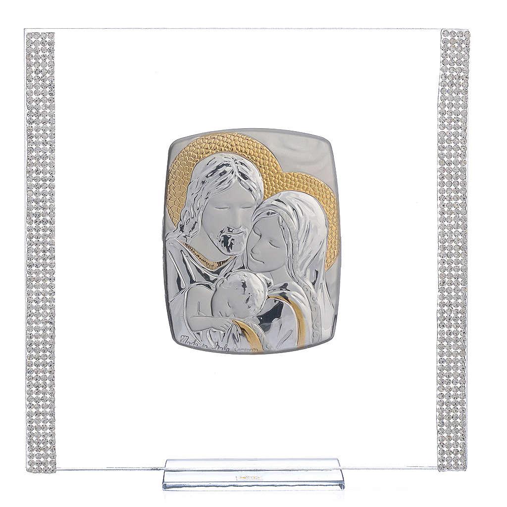 Quadro Matrimonio S. Famiglia Arg. e strass 17,5x17,5 cm 3