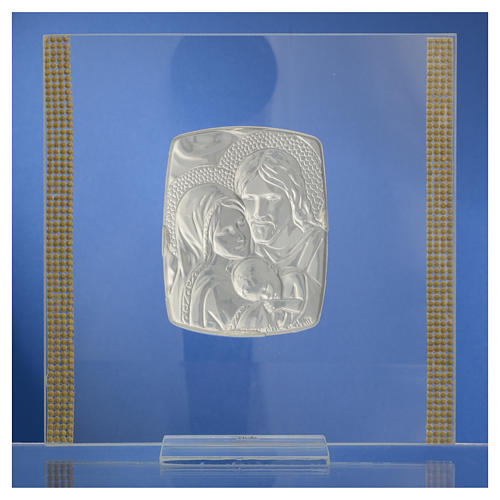 Quadro Matrimonio S. Famiglia Arg. e strass 17,5x17,5 cm 8