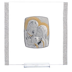 Wedding favour with Holy Family in silver and rhinestones 17.5x17.5cm s5