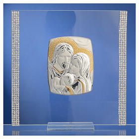 Wedding favour with Holy Family in silver and rhinestones 17.5x17.5cm s6