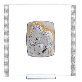 Wedding favour with Holy Family in silver and rhinestones 17.5x17.5cm s1