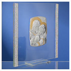 Wedding favour with Holy Family in silver and rhinestones 17.5x17.5cm s3