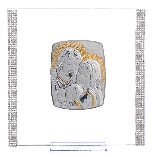 Wedding favour with Holy Family in silver and rhinestones 17.5x17.5cm 1