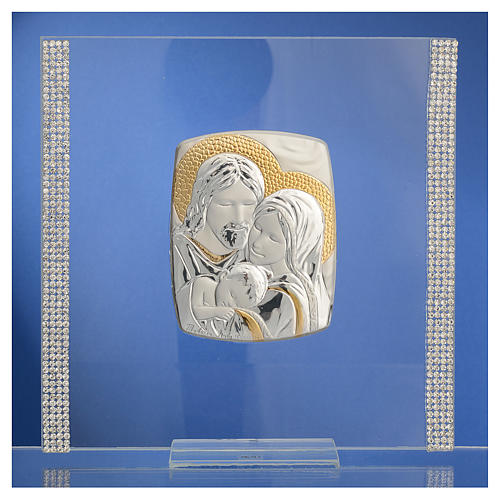 Wedding favour with Holy Family in silver and rhinestones 17.5x17.5cm 2