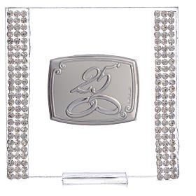 25 year anniversary favour silver and rhinestones 7x7cm s5