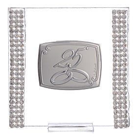 25 year anniversary favour silver and rhinestones 7x7cm s1