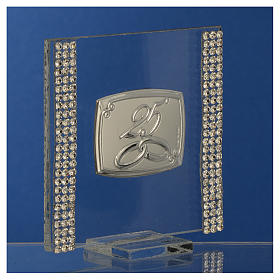 25 year anniversary favour silver and rhinestones 7x7cm s3