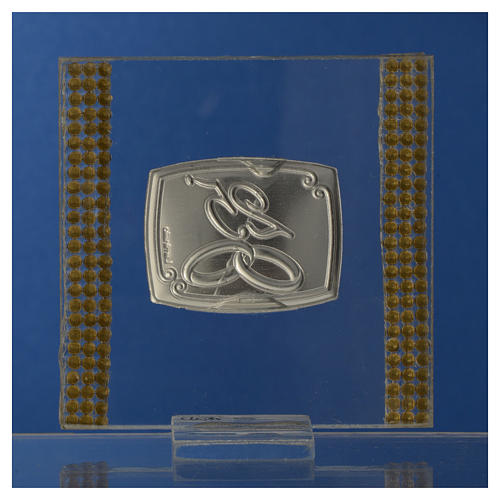 25 year anniversary favour silver and rhinestones 7x7cm 8
