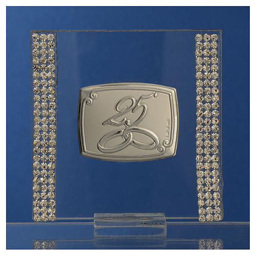 25 year anniversary favour silver and rhinestones 7x7cm 2