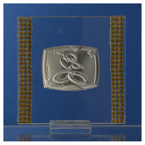 25 year anniversary favour silver and rhinestones 7x7cm 4