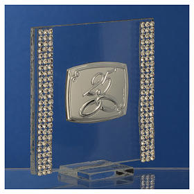 25 year anniversary favour silver and rhinestones 7x7cm s7