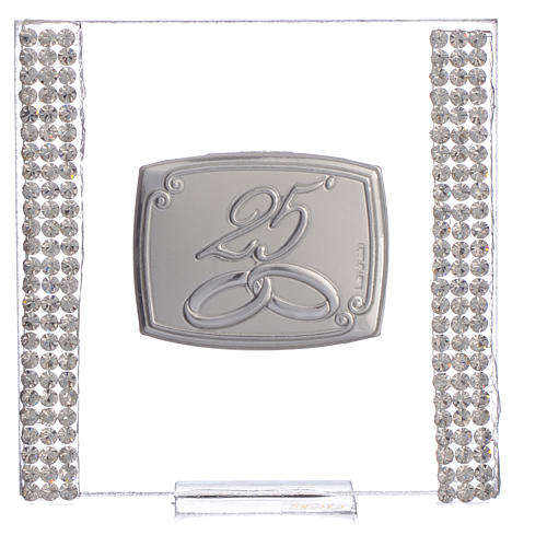 25 year anniversary favour silver and rhinestones 7x7cm 5