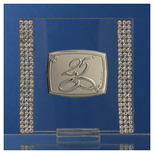 25 year anniversary favour silver and rhinestones 7x7cm 6