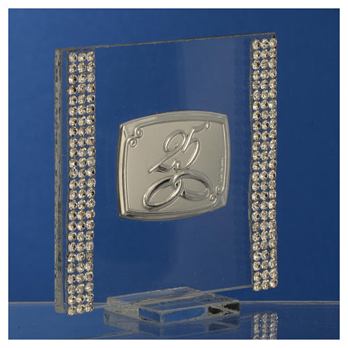 25 year anniversary favour silver and rhinestones 7x7cm 7