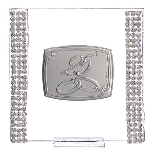 25 year anniversary favour silver and rhinestones 7x7cm 1