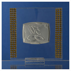 50 year anniversary favour silver and rhinestones 7x7cm s8