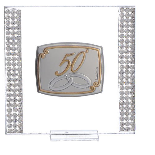 50 year anniversary favour silver and rhinestones 7x7cm 5