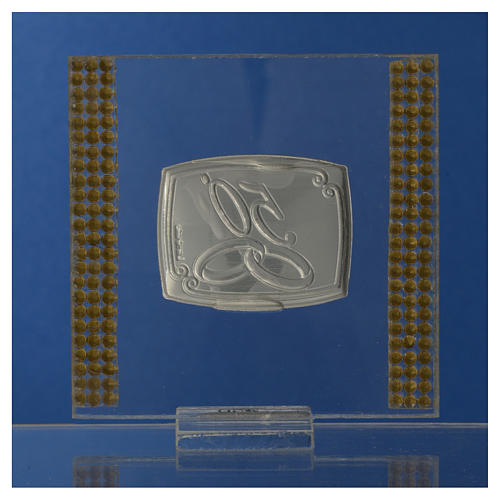 50 year anniversary favour silver and rhinestones 7x7cm 8