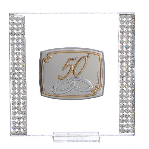 50 year anniversary favour silver and rhinestones 7x7cm 1