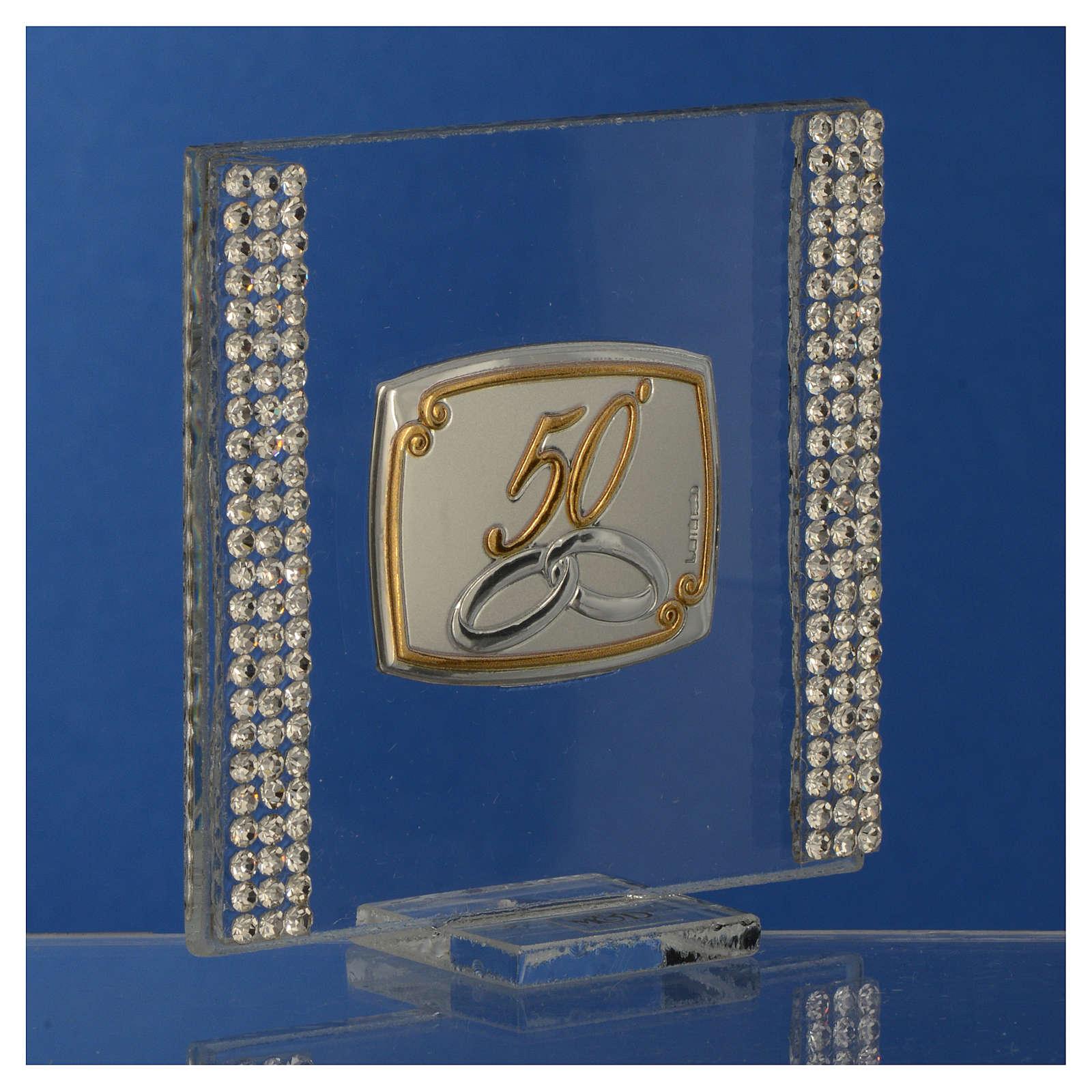 Pamiątka Rocznica 50 lat małżeństwa obrazek srebrny brokat 7x7cm 3