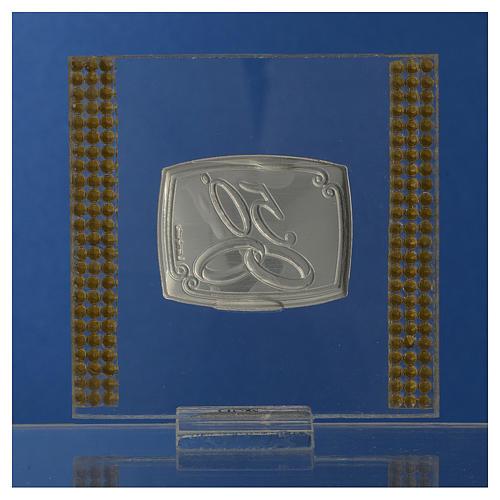 Pamiątka Rocznica 50 lat małżeństwa obrazek srebrny brokat 7x7cm 4