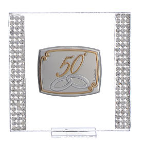 50 year anniversary favour silver and rhinestones 7x7cm s1