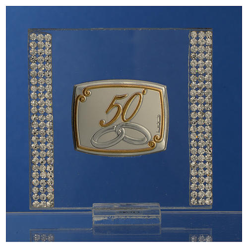 50 year anniversary favour silver and rhinestones 7x7cm 2