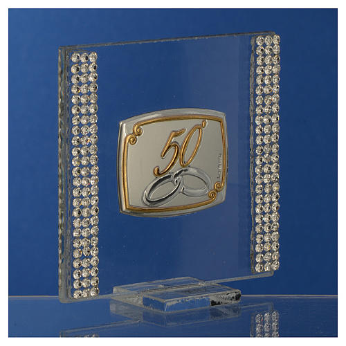 50 year anniversary favour silver and rhinestones 7x7cm 3