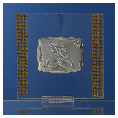 50 year anniversary favour silver and rhinestones 7x7cm 4