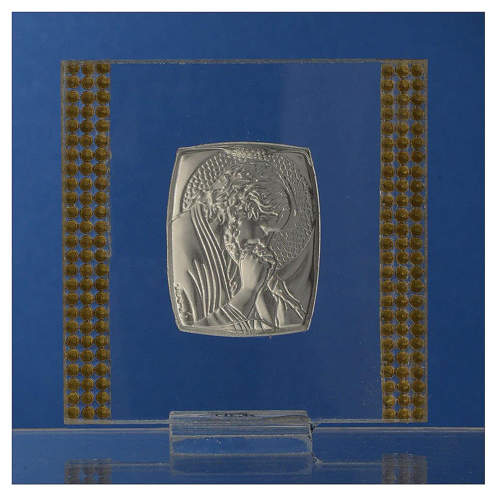 Regalo cuadro Cristo Plata y Lentejuelas 7x7 cm 3