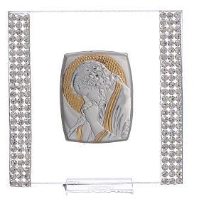 Regalo cuadro Cristo Plata y Lentejuelas 7x7 cm s1