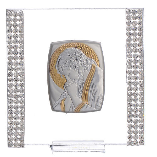 Regalo cuadro Cristo Plata y Lentejuelas 7x7 cm 1