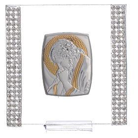 Pamiątka obrazek Chrystus srebro i brokat 7x7cm s5