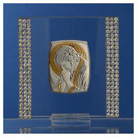 Pamiątka obrazek Chrystus srebro i brokat 7x7cm s6
