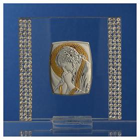 Pamiątka obrazek Chrystus srebro i brokat 7x7cm s2