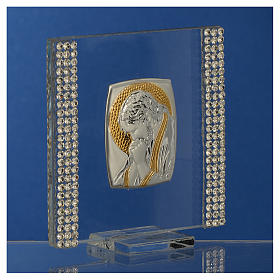Pamiątka obrazek Chrystus srebro i brokat 7x7cm s3