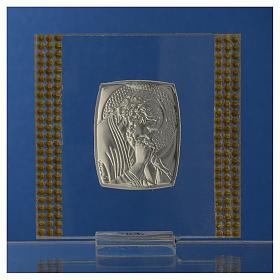 Pamiątka obrazek Chrystus srebro i brokat 7x7cm s4