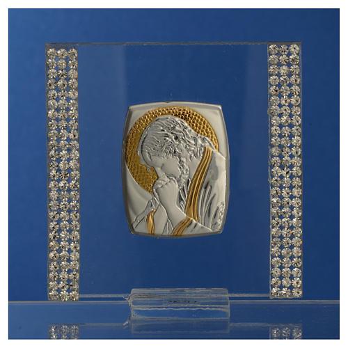 Pamiątka obrazek Chrystus srebro i brokat 7x7cm 6