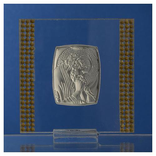 Pamiątka obrazek Chrystus srebro i brokat 7x7cm 8