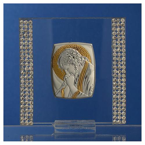 Pamiątka obrazek Chrystus srebro i brokat 7x7cm 2