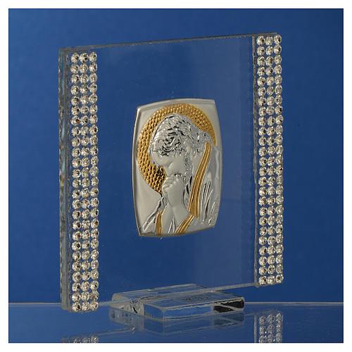 Pamiątka obrazek Chrystus srebro i brokat 7x7cm 3