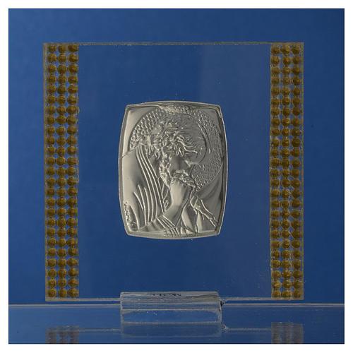 Pamiątka obrazek Chrystus srebro i brokat 7x7cm 4