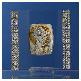 Favour with image of Christ in silver and rhinestones 7x7cm s6