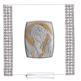 Favour with image of Christ in silver and rhinestones 7x7cm s1
