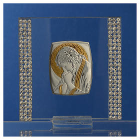 Favour with image of Christ in silver and rhinestones 7x7cm s2