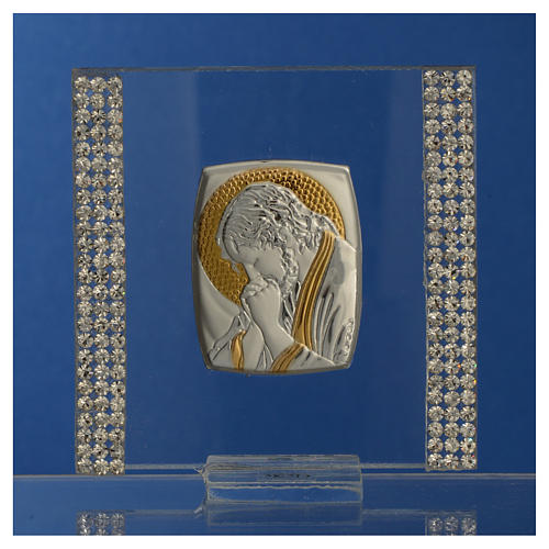 Favour with image of Christ in silver and rhinestones 7x7cm 6