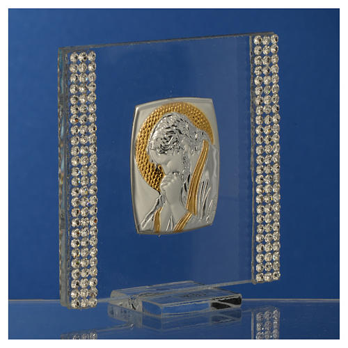 Favour with image of Christ in silver and rhinestones 7x7cm 7