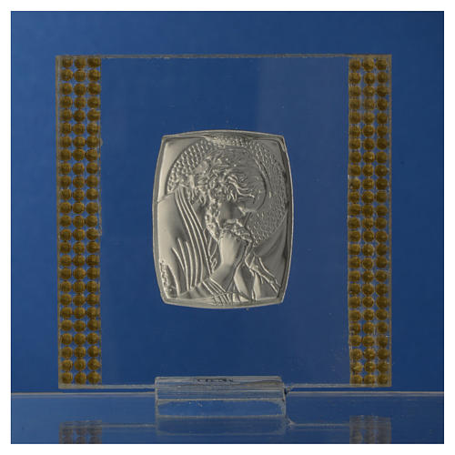 Favour with image of Christ in silver and rhinestones 7x7cm 8